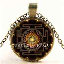 Vintage Sri Yantra Photo Cabochon Glass Bronze Chain Pendant  Necklace
