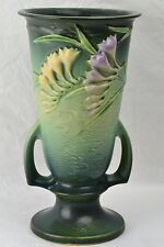 Roseville Pottery Vase, 1945 Green Freesia Trophy Vase #125-10