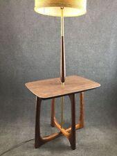 Mid Century Danish Modern Pearsall Style Brass & Walnut Wood Table Floor Lamp
