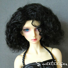 "8-9"" 1/3 BJD Hair IP EID SD doll wig Super Dollfie natural curly black M-mohair"