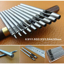 10PCS Leather Craft Tool Round Hole Punch Cutter Fr Belt Watch Band 0.5mm to 5mm
