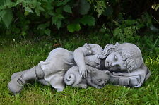 GIRL and CAT Garden Lawn Patio Ornament Frost Proof Stone Statue ⧫onefold-uk