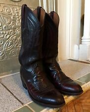 Lucchese Western Cowboy Boots Cherry Black Leather 9D Men's/10.5D Women's
