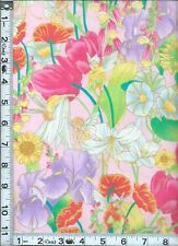 Fabric Shamash Flowers Fairies iris lily tulips metallic gold pink OOP BTHY