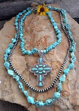 Cowgirl Bling TURQUOISE CROSS 3 Strand NECKLACE Nuggets Gypsy Boho Southwest