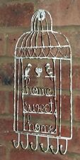 Home Sweet Home Bird Cage Metal Key Jewellery Hook Rack Cream Shabby Chic New