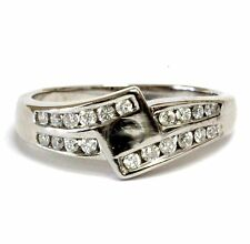14k white gold .40ct SI1 H semi mount engagement ring 4.8g vintage ladies estate