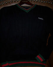 GUCCI Mens Lg L SWEATER Cable Black~Red~Green 100% AUTHENTIC~V-Neck~Classic WEB