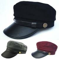 Army Cadet Military Navy Sailor Flat Top Hat Unisex Men Women Leather Buckle Cap