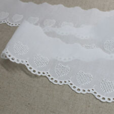 3Yds Embroidery scalloped cotton eyelet lace trim white 5.5cm YH1061 laceking