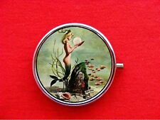 MERMAID PIN UP GIRL FISH CLAM ROUND METAL PILL MINT BOX CASE
