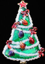 GLITTERY ENAMEL CHRISTMAS TREE GARLAND LIGHTS BOW PIN BROOCH PENDANT JEWELRY 2""