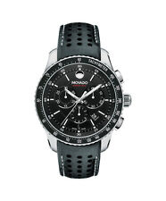 NEW Movado Series 800 Chronograph 2600096 Black Dial Leather Band Mens Watch