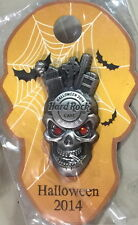 Hard Rock Cafe PRAGUE 2014 HALLOWEEN PIN 3-D SKULL on Cool Card JEWEL Eyes 80918