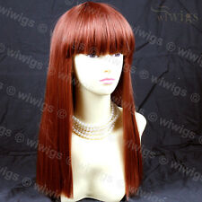 Sexy Fox Red Long Straight Ladies Wigs Skin top hair BANGS from WIWIGS UK