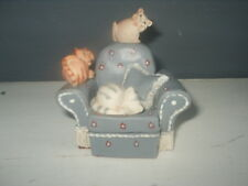 Peter FAGAN COLOUR BOX CATS Figurine 3 cats on GANGS CHAIR  EXCELLENT Colourbox