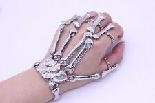 New Bone Fingers Skeleton Hand Bracelet Ring Halloween Alloy Costume Jewelry New