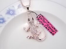 Betsey Johnson cute inlaid Crystal Rhinestone crocodile pendant necklace # F052