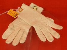 NWT TORY BURCH IVORY MOSS CASHMERE STITCH GOLD TONE SCRIPT BUTTON LOGO  GLOVES