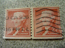 1954 or 1957~USED~2 Cent Jefferson HORIZONTAL PAIR Scott #1055