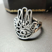 Vintage EGYPTIAN FINGER RING HAMSA Fatima HAND EVIL EYE GYPSY GOOD LUCK JEWELRY
