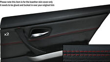 RED STITCH 2X REAR DOOR CARD TRIM SKIN COVERS FITS BMW 3 SERIES E90 06-11 5DR