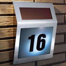 New Solar Powered Stainless Steel 3 LED Doorplate Lamp House Number Light A