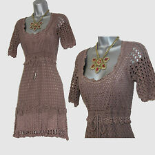 KAREN MILLEN Taupe 20's Style 3D Flowers Crochet Cocktail Dress size 1 UK 8 10
