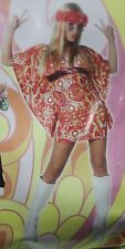 HIPPIE FLOWER POWER ADULT SMALL WOMEN'S COSTUME Mini Dress Retro Halloween NEW