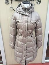 NEW $354 Women's Beige DNKY Long DOWN Belted Winter Coat with a Hood- size M