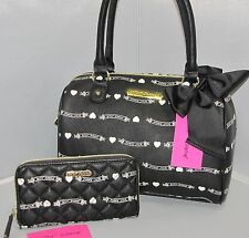 NWT set Betsey Johnson BETSEY BANNER Black & White satchel & zip-around wallet