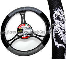 Mesh Look Black Grey Dragon Car Steering Quality CarPoint Wheel Cover Glove