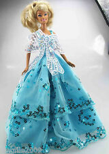 New Handmade Light Blue Wedding Clothes Gown Outfits For Barbie Doll d867