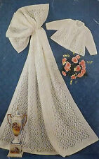 """Baby Knitting Pattern Vintage Shawl & Matinee Coat 17-20"""" Chest DK & 4 Ply E8509"""