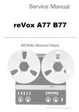REVOX A77 B77 Service and Instruction Manuals * CDROM * PDF