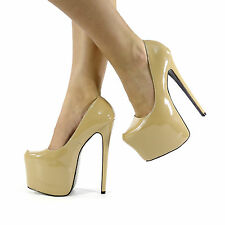 NEW WOMENS LADIES CONCEALED PLATFORM STILETTO HIGH HEELS COURT SHOES SIZE 3-8