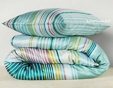 Ikea Palmlilja Turquoise Duvet Quilt Cover King 3pc set Sateen Retro Stripes New