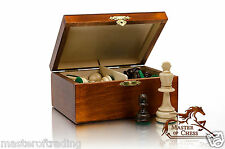 STAUNTON No.4 IN BROWN WOODEN BOX -METAL WEIGHTED PROFESSIONAL CHESS PIECES !!!!