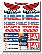 Honda Racing motorcycle decal set 9.4x12.6'' sheet 23 stickers 1000rr Repsol HRC