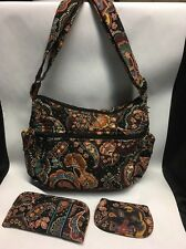 VERA BRADLEY KENSINGTON Brown Shoulder Bag Purse, Coin Purse & Glasses Case