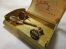 vintage stratton cufflinks and tie clip with box (darts interest / double top)