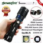 6000Lumen 5 Modes Zoomable CREE XM-L T6 LED 18650 Battery Flashlight Lamp lot