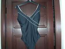Ladies Swimsuit - Black with a White Stripe Size 16 - Worn Once