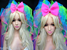 MADONNA VEIL HEN NIGHT VEIL HAIR BOW 80S BRIDE TO BE NEON VEIL MADONNA COSTUME