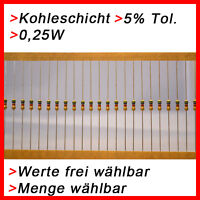 Kohleschicht Widerstände 0,25W 5% Werte und Menge FREI WÄHLBAR 5/10/50/100