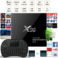 Kodi 16.1 X96 4K 64bit Android 6.0 Smart Tv Box Fully Loaded 2G+16G + Keyboard