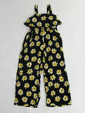 NWT Justice Girls Size 5 Black Sunflower Dressy Ruffle Pant Romper One-Piece 5t