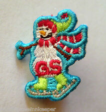 Girl Scout SKATING SNOWMAN PIN Button GSUSA Jewelry Christmas Holiday Winter NEW