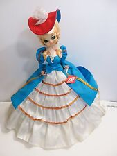 "VINTAGE ARTMARK LOVELY LADY DOLL IN BLUE AND WHITE DRESS 19"" TALL WITH TAG"