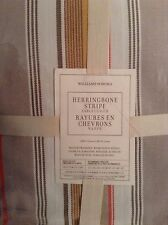 Williams Sonoma Herringbone Stripe Tablecloth 70x108 New! Brown Mustard Orange